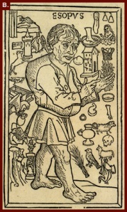 Représentation d'Ésope, fameux auteur des fables et contes animaliers qui ont inspiré Jean de La Fontaine